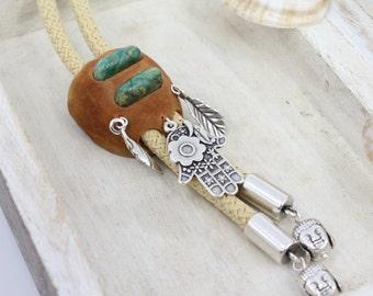 Gem Silica Bolo tie, Avocado Bolo Tie, Hand-carved Bolo Tie, Mother's Day, Handmade Bolo, Buddha Power
