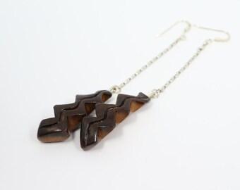Thunder earrings, Hand-carved Earrings, Avocado Earrings, Natural Seed Earrings, Mother's Day Gift, Wooden Thunder
