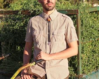 Wooden Bolo Tie, Hand-carved Bolo Tie, Avocado Seed Bolo Tie, Western Bolo Tie, Hunter's Bolo Tie, Atlantic Blue