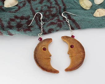 Hand-carved Moon Earrings, Moon Earrings, Avocado Earrings, Gift for Her, Mother's Day, Crescent Moons