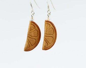 Natural Seed Jewelry, Orange Slide Earrings, Avocado Earrings, Hand-carved Earrings, Mother's Day, Orange Summer