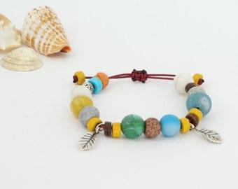 Feather Bracelet, Bohemian Bracelet, Blue Agate Bracelet, Mother's Day, Women Bracelet, Ikaria