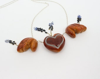 Hand-carved Heart with Wings Necklace, Avocado Necklace, Natural Necklace, Gift for Mother's Day, Love Necklace, Eros