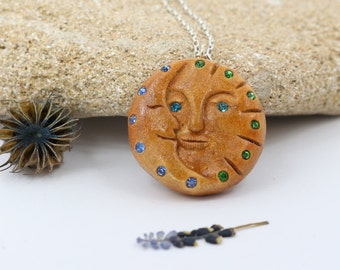 Moon and Sun Face Pendant, Hand-carved Pendant, Natural Seed Jewelry, Avocado Pendant, Moon Face Pendant, Jessica
