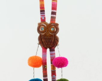 Pom pom necklace, Mother's Day, Avocado necklace, Hand-carved necklace , Natural seed jewelry, Colourful bolo, Summer Owl