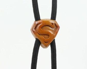 Hand-carved Bolo Tie, Avocado  Bolo Tie, Superman Bolo Tie, Men's Tie, Natural Jewelry, Gift for Him, Superman