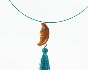 Hand-carved Lunar Tassel Necklace, Avocado Pendant, Swarovski Crystals, Natural Necklace, Moon Pendant, Mother's Day Gift,  Selene