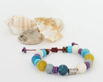 Agate Gemstone Beads, Glass Beads Bracelet, Gift for Her, Boho Bracelet, Boho Style, Jupiter