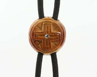 Hand-carved Cross Bolo Tie, Avocado Bolo Tie, Wooden Cross Tie, Gift for Father, Catholic Cross, Business gift, Greek Cross