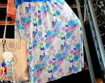Maxi Skirt - Butterfly Flower - Circle Skirt - Soft Feel - Beautiful Drape - Custom Made to Fit YOU - Elastic Waist - Modest Long Skirt
