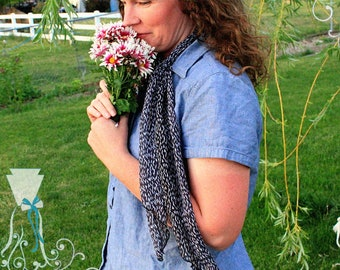 Scarf - Lightweight Scarf - Gift for Mom - Gift for Her - Summer Accessory - Black Geometric Pattern - Skinny Tie - Vintage Style - Hair Tie