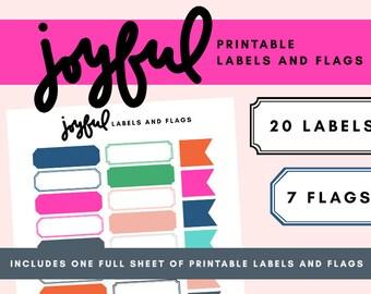 Joyful Printable Labels & Flags