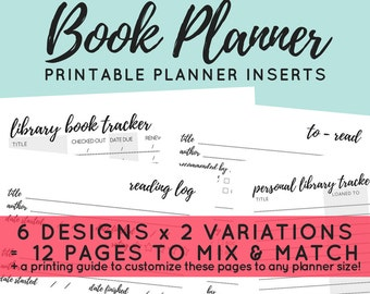 Book Planner Printable Planner Inserts - ANY SIZE PLANNER