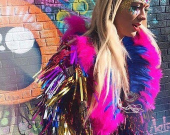Electric blue and pink feather cape, festival feather cape, Burning Man clothing, feather collar, sequin cape, feather shrug, festival cape