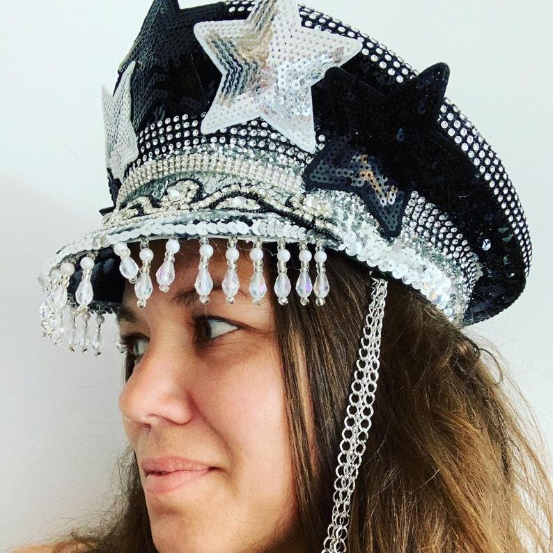 Over The Moon Embellished Festival Military Hat Rave Hat Burning Man Military Hat Captains Hat Disco Hat Sequin Hat Festival Hat
