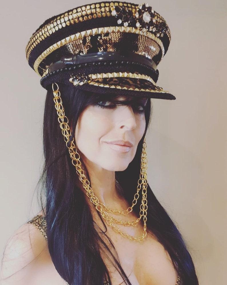 Unisex Hat Embellished Captains Hat Military Festival Cap Black Sequined Hat Black And Gold Animal Print Captains Hat Burning Man Hat
