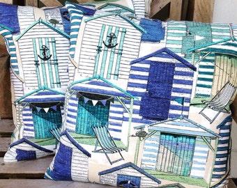 Outdoor pillows, home decor, beach decor, beach house pillows, pillows, cushions, blue pillows, beach huts pillows, pillows for boat,