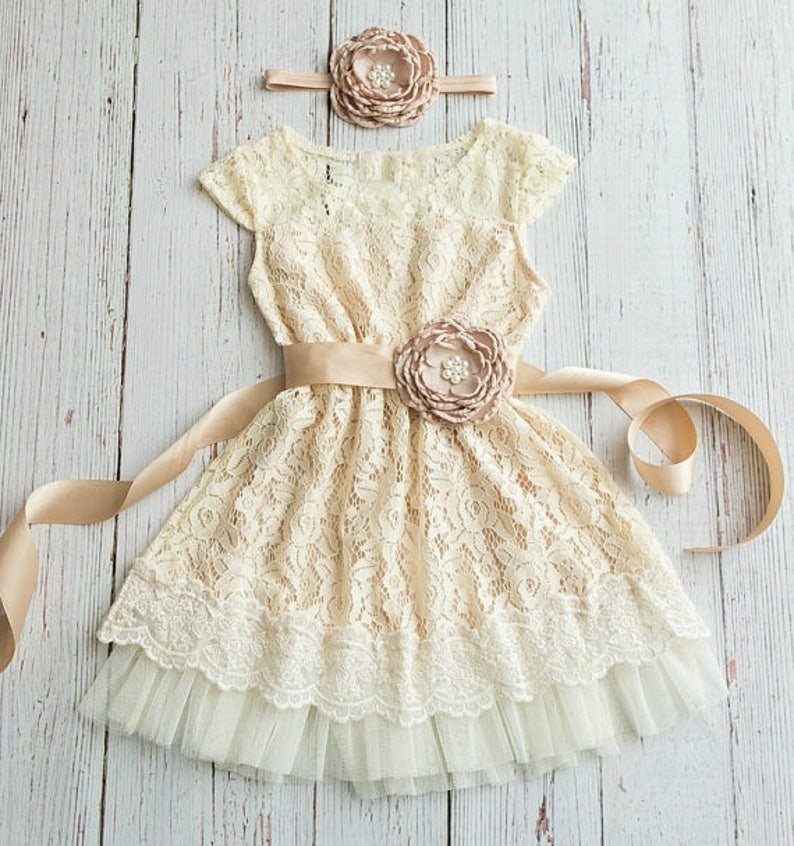 ba2ee34e683 Rustic Flower Girl Dress Country flower girl dress Ivory