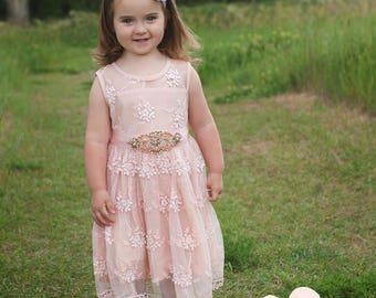 Flower Girl dress, rustic lace flower girl dress,girls lace dress, Blush formal flower girl dress, baby toddler girl, country flower girl