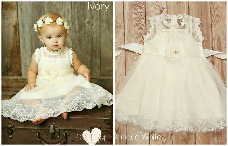 Country shabby chic flower girl dress Girl dress IVORY  girl dress,Ivory lace flower girl dress,rustic flower girl dress Baby lace dress
