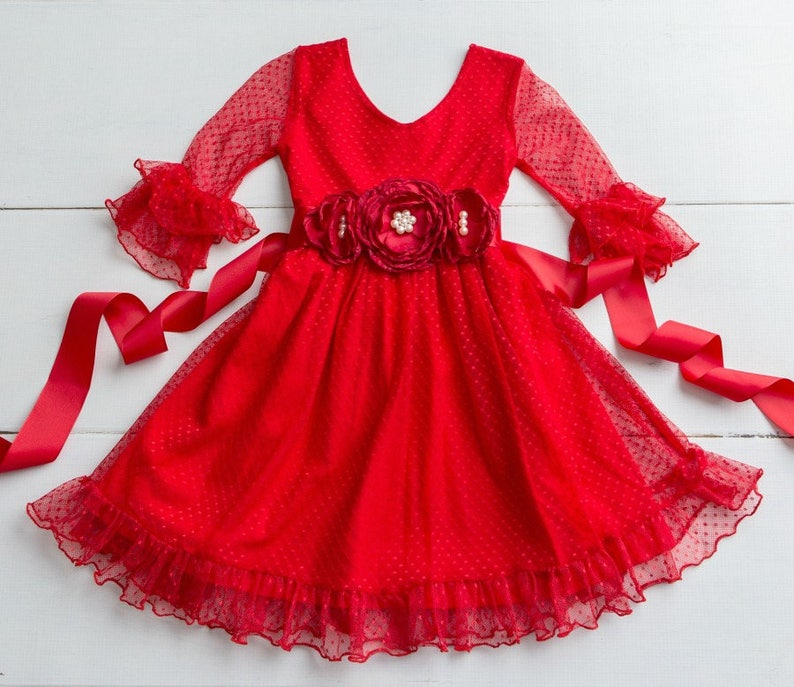 Girls red lace Christmas dress Rustic Flower Girl Dress red  a32fba21c34b