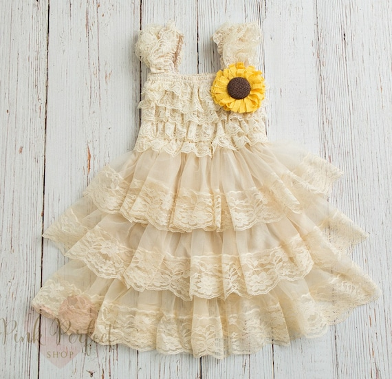 Rustic Flower Girl Dress Sunflower Dress Country Flower