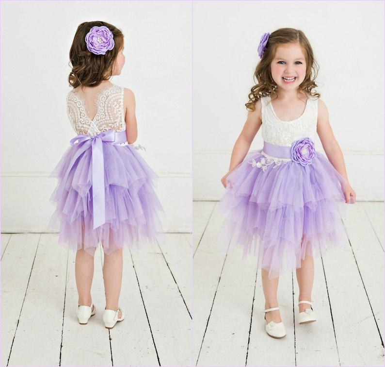 3a9566cc0 Lavender flower girl dress Rustic Lace Flower Girl Dress | Etsy