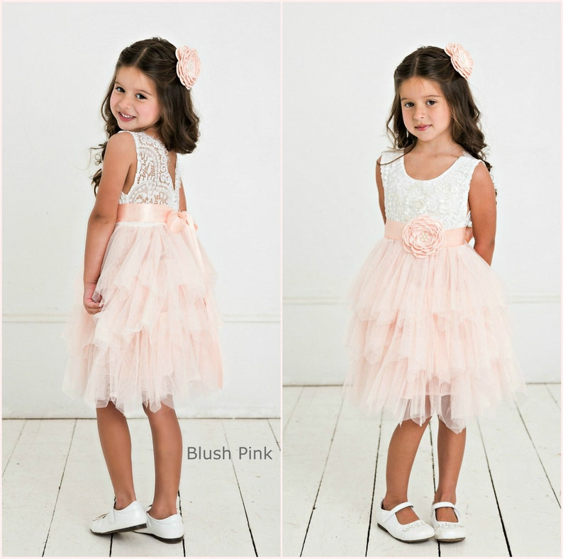 8a714b9c5b913 Blush pink flower girl dress Rustic Lace Flower Girl   Etsy