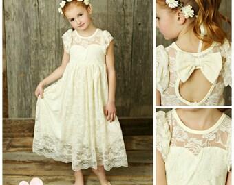 Flower Girl Dress, lace girl dress, rustic flower girl dress, flower girl lace dresses, country lace dress, ivory lace dress, Girls dresses