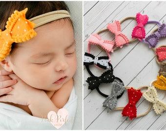 Nylon baby headbands, nylon headbands, infant headband, newborn headband, baby girl headbands, mini bow headband,