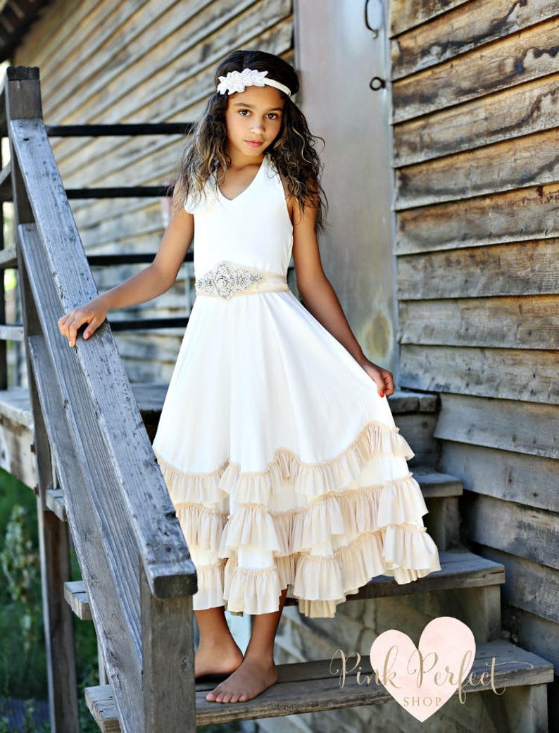beach flower girl dress junior bridesmaid dress rustic image 0