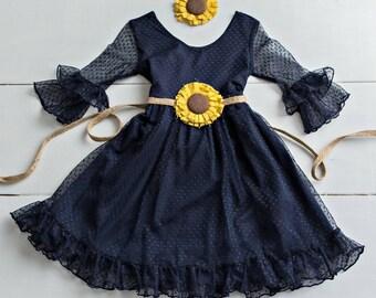 Navy Blue Flower girl dress, rustic flower girl dresses, Baby toddler dress ,Sunflower flower dress,long sleeve Navy Blue lace girls dresses