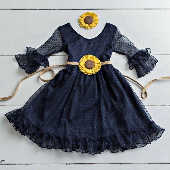 Vintage Blue Flower Girls Dresses