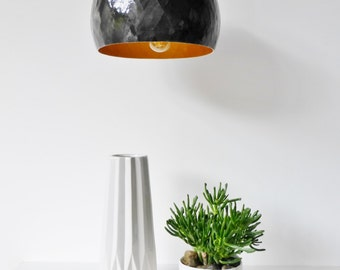 METEOR LUMINAIRE, suspension, black and gold, recycled kraft paper