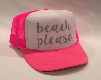Beach Please, Neon Pink and White Trucker Hat