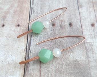 Hammered Copper Earrings, Copper Dangle Earrings, Minimalist Earrings, Boho Chic Earrings, Artisan Earrings, Rustic Metal Earrings
