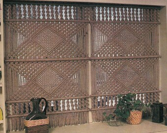 """1970s """"Magical Motif"""" Optional Two Or Three Panel DIY MACRAME Window Curtains - Instant PDF Digital Download"""