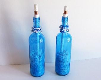 Blue Wine Bottle Citronella Torches, Blue Tiki Torch, Wine Bottle Torch, Wine Bottle Torch, Wine Bottle Decor, Patio Decor