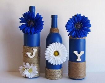 Bouteille de joie ensemble, bouteilles décoratives, ficelle enroulée, bouteille de vin décor, décor rustique, décor rustique, Style rustique, bouteille de vin ensemble