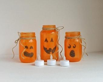 Pumpkin Candle Holder, Glass Pumpkin Set, Orange Glass Pumpkin, Set of 3 Pumpkins, Pumpkin Candles, Halloween Candles, Halloween Decor