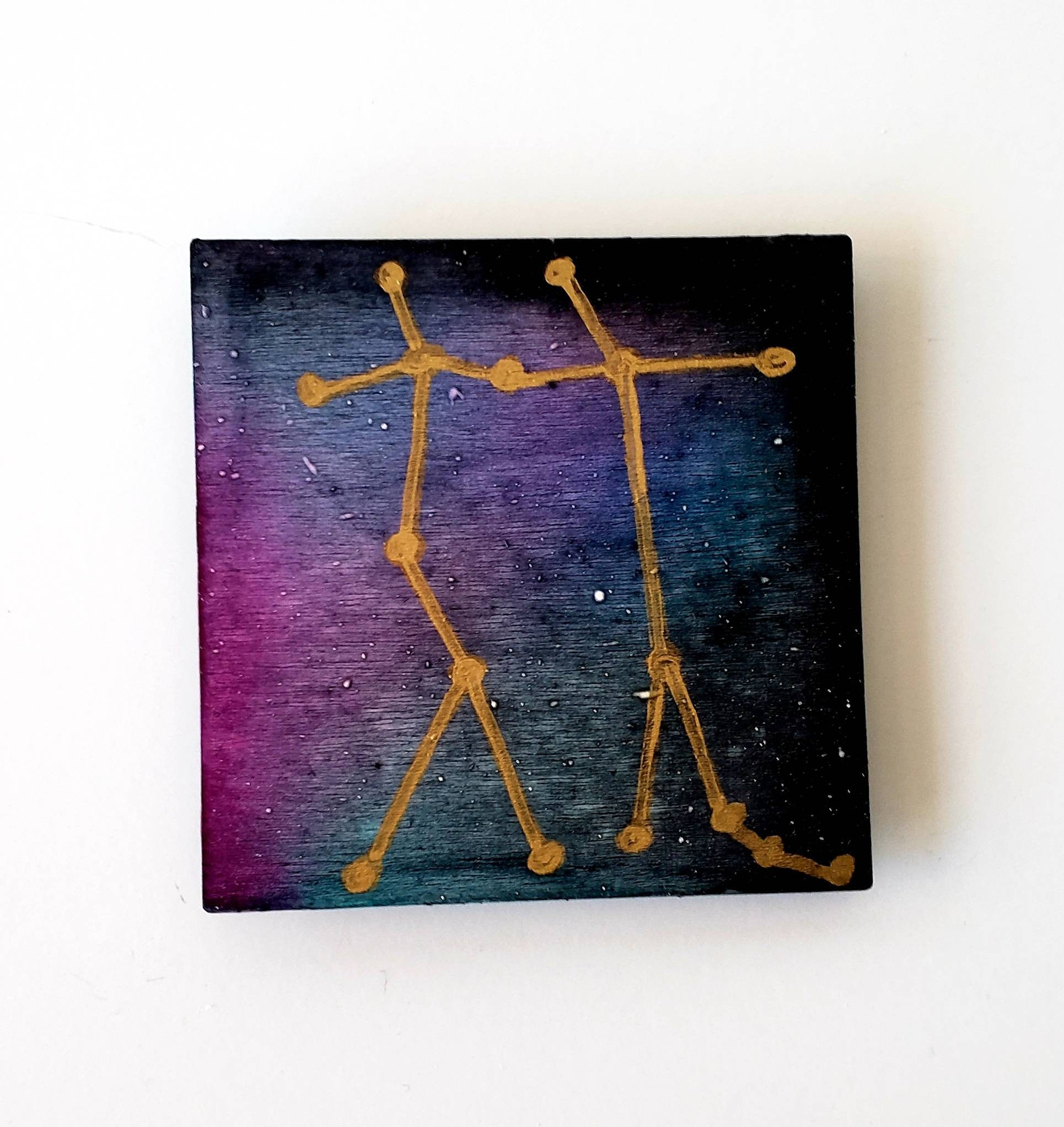Gemini Refrigerator Magnet, Abstract Alcohol Ink Abstract Gemini Original  Square Magnet