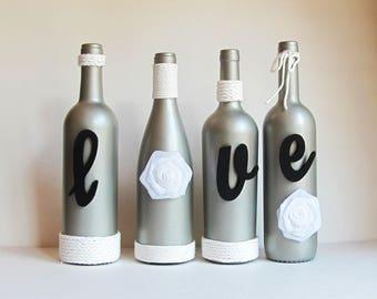 Love Wine Bottle Set, Silver Love Set, Wine Bottle Decor, Gift for Her, Mom Gift, Love Wine Decor, Modern Bottle Set, Wine Lover Gift