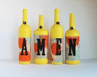 Amen ensemble de bouteille de vin, bouteilles décoratives, ficelle enroulé, vin bouteille décor, décor rustique, décor rustique, Style rustique, bouteille de vin ensemble