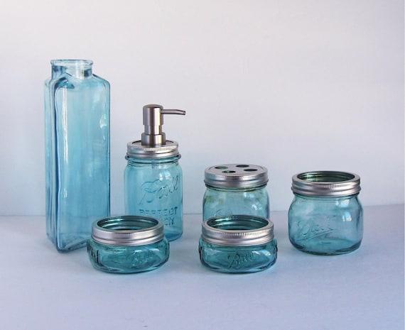 Turquoise Bathroom Set Mason Jar Bathroom Set Glass Bathroom   Etsy
