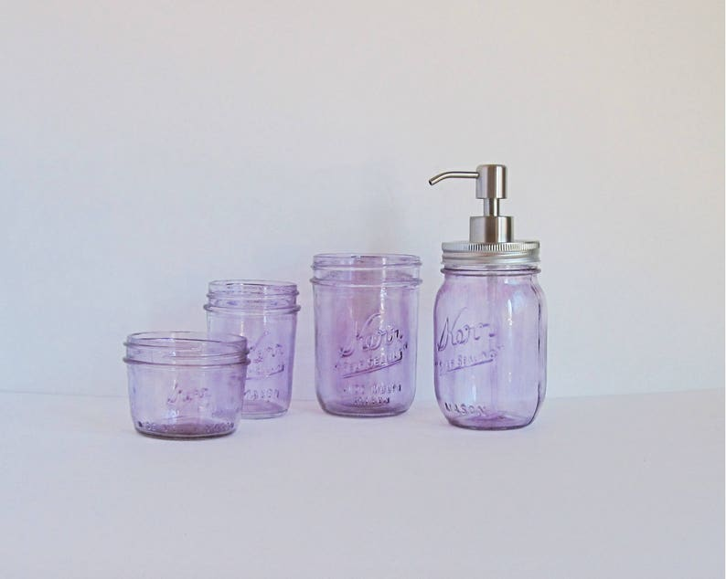 Purple Bathroom Set Mason Jar Bathroom Set Glass Bathroom image 0