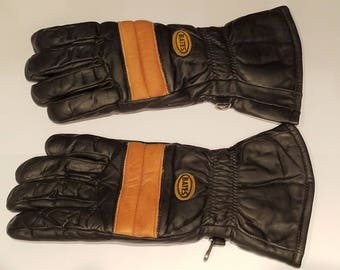Vintage 1970's - 1980's Bates Black Leather Motorcycle Gloves Gauntlets Excellent Condition!
