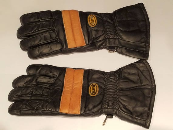 Vintage 1970/'s 1980/'s Bates Black Leather Motorcycle Gloves Gauntlets Excellent Condition!