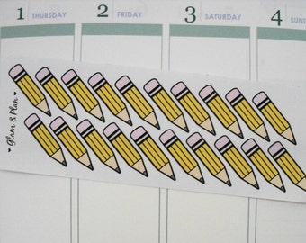 20 Pencil Stickers   Erin Condren Filofax Happy Planner
