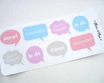 8 Speech Bubbles Stickers   Erin Condren Filofax Happy Planner