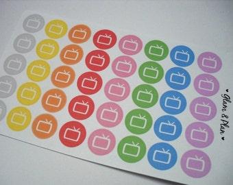 40 Television TV Planner Stickers   Erin Condren Filofax Happy Planner Kikki K